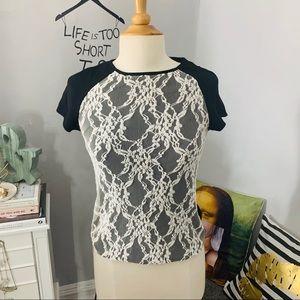 Zara lace front blouse size Xs